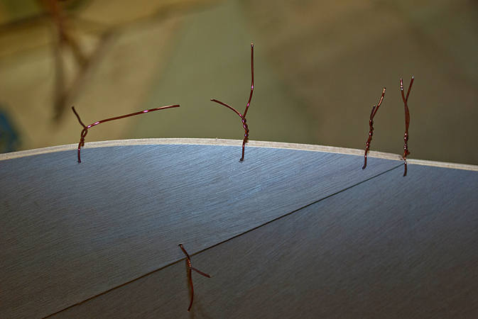 Copper wire for stitching wooden boat panels together